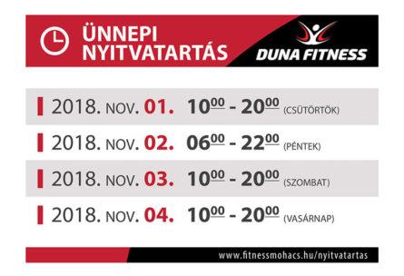 duna fitness nyitvatartás 2018 november