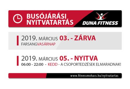 Busójárási nyitvatartás 2019. marc