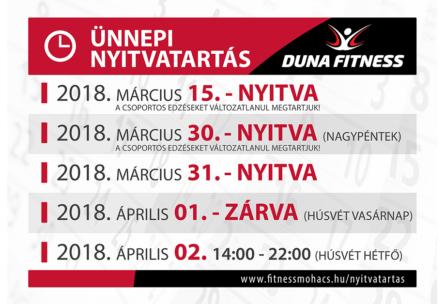 duna fitness ünnepi nyitvatartás 2018 március húsvét